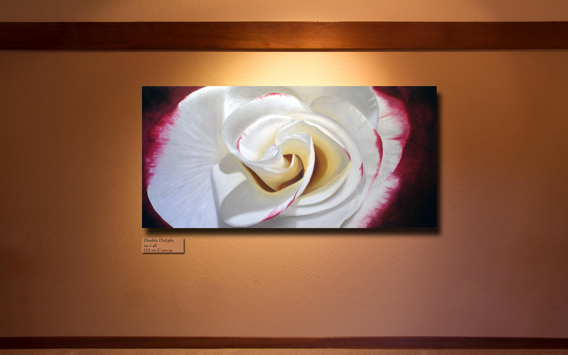 A portrait of Double Delight - Rose paintings by Steve Luce